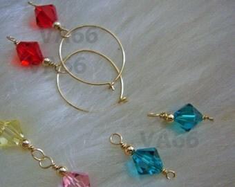 14k Gold Filled Interchangeable 2 Pairs Swarovski Earrings Hoops Hoopies Loops Bridal Bridesmaids Children Jewelry Flower Girl, Ring Bearer