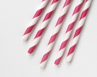 Raspberry Pink Striped Paper Straws (25)