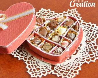Heart Shaped Box of Chocolates  (1/12th Scale Dollhouse Miniature)