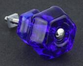 """4 LARGE Glass Drawer Pulls Knobs Cobalt Blue 1-1/2"""" Set of 4"""
