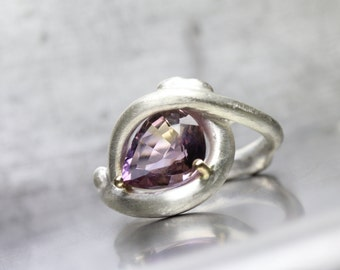 Large Drop Shaped Ametrine Silver Ring Purple 14K Yellow Gold Prongs Statement Cocktail Ring Sideways Set Pear Cut Gemstone - Sunset Drop