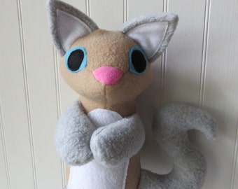 Gray Siamese Cat Plush, Cat Doll, Toy Cat