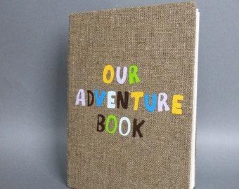 LARGE Wedding rustic guest book burlap Linen Wedding guest book Our Adventure Book