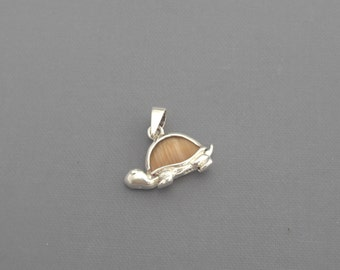 Sterling Silver Turtle Charm, Glass Turtle Pendant, Tortoise Pendant, Small Pendant, Tortoise Charm