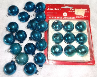 Vintage Small Glass BLUE Christmas Tree Ornaments • 27 count