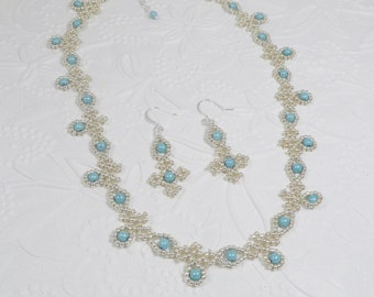 Woven Necklace and Earrings Silver and Aqua Blue