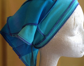 Sale was 22.00 - Harry and The Hippe Chic Bohemian Patchwork One Of A Kind Headband Handkerchief Hair Scarf