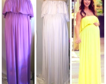 "Strapless ruffled top maternity maxi dress/ maternity dress/ maternity photoshoot / baby shower/ ""Jennifer "" dress"
