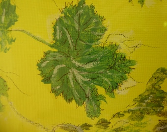 STUDIO SALE - PAINTING - Vine Leaves on Yellow - Acrylics on Canvas Board - 25cm square - Now Less than Half Price
