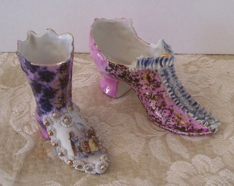 Two Miniatures Porcelain Boot Shoes, Victorian Image, Pink and Blue Ruffled Porcelain, Home Decor, Victorian Porcelain, High Heel Shoe