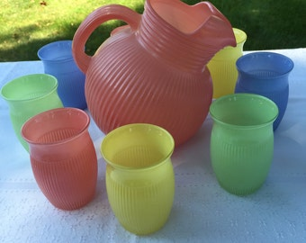 Vintage 1940's Hazel Atlas Pastel Pitcher 8 Juice Glasses