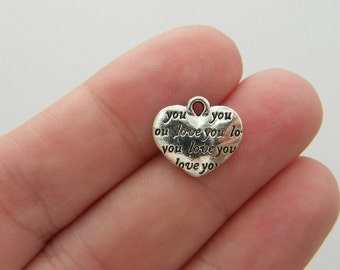 14 Love you heart charms antique silver tone H127