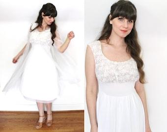 1950s Peignoir Set / 50s White Nylon Chiffon Peignor and Nightgown Bridal Lingerie Set