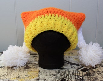 Candy Corn Holiday Beanie All Sizes Adult to Newborn, Crochet Hat