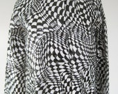 Vintage Mod 60s Op Art Black and White Raincoat Slicker, Second Version