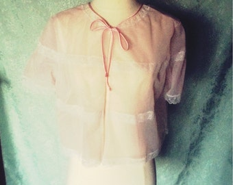 Pale pink chiffon bed jacket size small