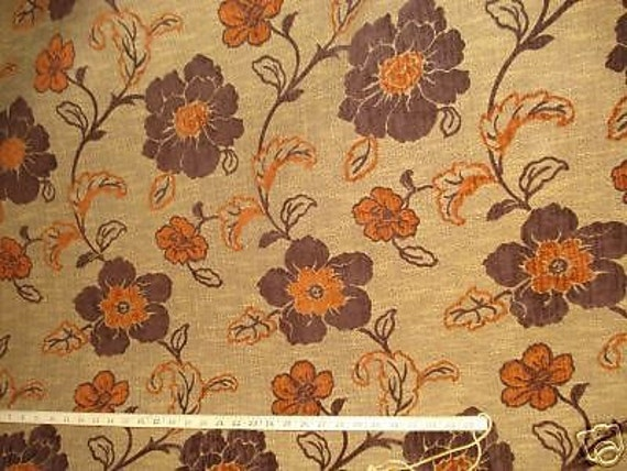 brown tan gold TERRACOTTA RETRO FLORAL chenille upholstery