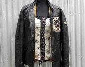 1970's black panther, letterman jacket, men's large