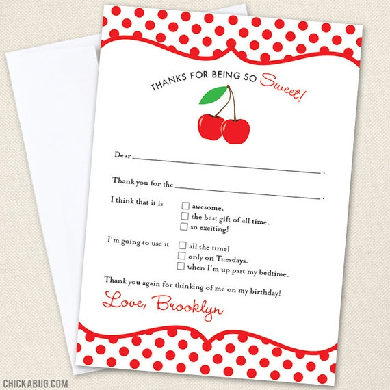 Cherry Party Thank You Cards - Professionally printed *or* DIY printable
