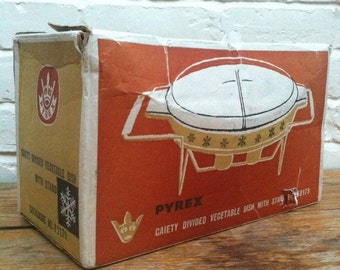 Vintage Pyrex Gaiety Snowflake Lidded Divided Serving Dish with Warmer and Original Box
