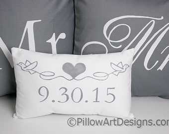 Personalized Wedding Pillows Mr and Mrs Pillow Covers with Mini Date Pillow Heart and Doves Grey and White Made in Canada