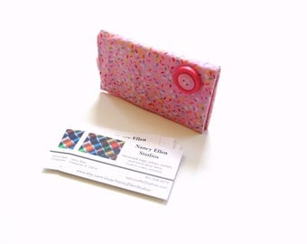 Business card case, credit card wallet, card holder, pink confetti print fabric, magnetic closure, 2 pockets