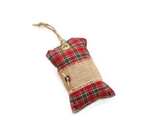 Winter sachet, red plaid Christmas sachet, country cottage, home fragrance, sachet ornament, winter decor, scented door hanger pillow