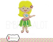 Hula girl embroidery design. Fun beach embroidery. Summer embroidery with flair. Hula girl machine embroidery. Luau embroidery.