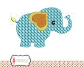 Elephant machine embroidery design. 2 sizes! One mini and one 4 x 4. Perfect for jungle embroidery or circus embroidery projects