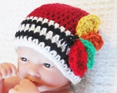 Baby Blackhawks Beanie Hand-crocheted Chicago Blackhawks Hockey Hat with Feathers and Stripes By Distinctly Daisy
