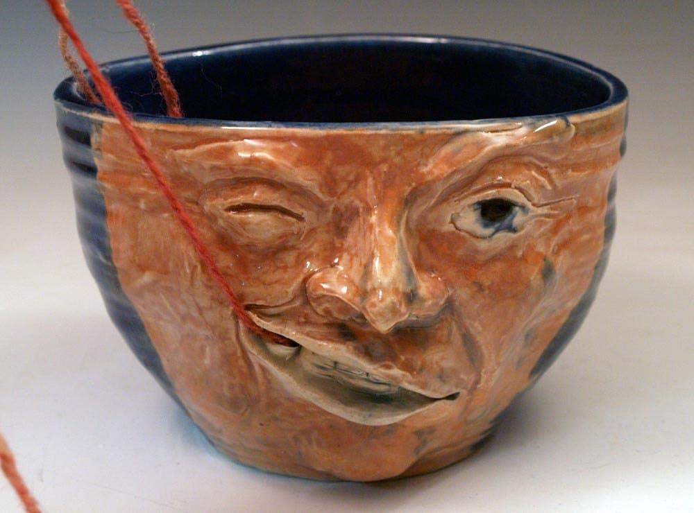 Knitting Bowl Face : Large funny face yarn bowl handmade ceramic ooak