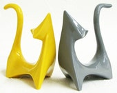 Customize Your Colors - Ceramic Cats Mid Century Modern Sculpture Retro Atomic Figurines Shown in Gray and Golden Yellow - Made to Order