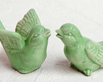 Ceramic Love Birds Retro Wedding Cake Toppers Keepsake Figurines in Mint Green - Made to Order