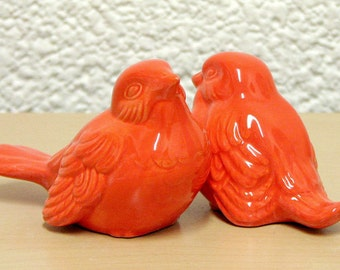 Customize Your Color - Ceramic Love Bird Figurines Wedding Cake Topper Sculptures for Home Decor Shown in Tangerine Orange - Made to Order