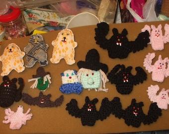 bundle of crocheted halloween treats