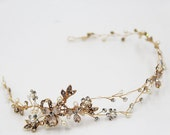 Ready to ship Gold or Silver Wire Tiara, Crystal Hair Wreath Vine Leaf, Twisted Wire Tiara, Crystal Crown, Crystal Bridal Tiara