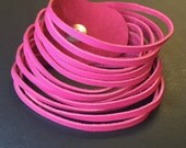 Pink leather slitted cuff bracelet