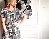 Black and White Polka Dot Spot Marimekko Fabric Dress