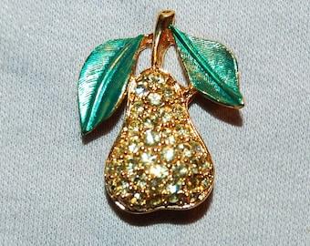 Vintage / Pear / Brooch / Rhinestone / Enamel / Fruit / old jewellery jewelry