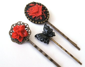 Gothic Red Rose Bobby Pin Set, Red Bobby Pins, Black Bobby Pins, Red Rose, Black Butterfly Bobby Pins