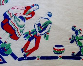 "Vintage Mexico Tablecloth, 40s, 50s Kitchen, 53 x 51"" Dancers, Cinco de Mayo"