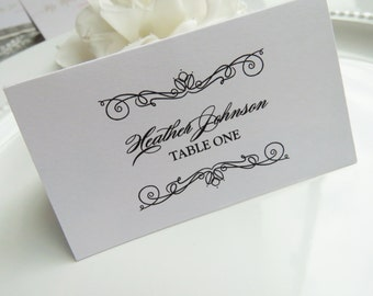 PRINTED Place Cards - Set of 50 - Style EC8 - SCROLLING COLLECTION