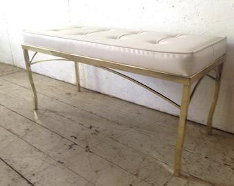 "WEEKEND SALE! Vintage Brass Bench Mid Century Brass White Tufted Bench 36.5"" Hollywood Brass Bench"