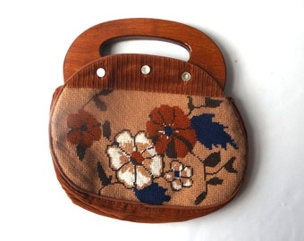 vintage 1970's bermuda bag changeable purse small handbag womens fashion neutral brown corduroy autumn cross stitch flowers rust orange blue