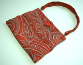 RESERVED Rare Victorian Paisley metal beaded purse
