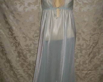 Vintage 70s Pale Blue and Lace Nylon Nightgown