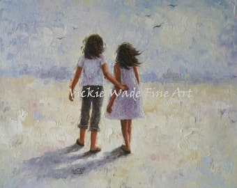 Two Sisters Art Print, two teen girls, two young ladies, best friends wall art, loving sisters, girlfriends art, prints, Vickie Wade Art