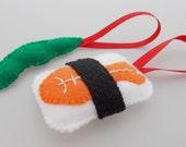 Felt Sushi Christmas Ornaments - Orange Ebi Shrimp & Edamame