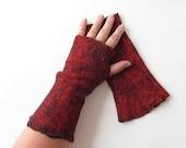 Fingerless gloves Felted Mittens  Wool mittens   Green Red Grey  By Galafilc