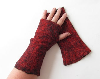 Fingerless gloves Felted Mittens  Wool mittens   Green Red Grey  By Galafilc